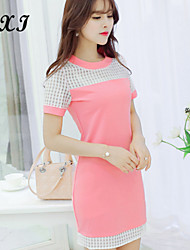 CXI78®Women's Sexy/Casual/Cute/Party Micro-elastic Short Sleeve Above Knee Dress