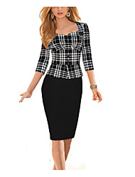 Women's Vintage Fashion Slim Fake Two Piece Long Sleeved Pencil Work Dress