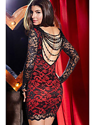 Women's Vintage/Sexy/Bodycon/Lace/Party Micro-elastic Long Sleeve Above Knee Dress (Lace)