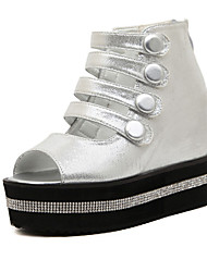 Women's Shoes  Wedge Heel Wedges/Peep Toe Sandals Casual White/Silver