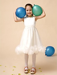 Flower Girl Dress Tea-length Satin/Tulle A-line Sleeveless Dress(Headpiece Not Include)