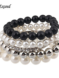 D Exceed  Women's Europe and The United States Beaded Alloy Multilayer Pearl Fashion Braclet