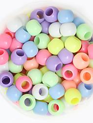 beadia 100g (aprox 250pcs) 8x9mm moda rodada grânulos grandes buracos acrílico misturado cor de plástico mola solta pérolas