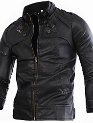 care,Men's Stand Coats & Jackets , PU Long Sleeve Vintage / Casual / Party / Work Fashion Fall care