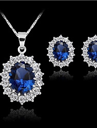 Lucky Doll Women's All Matching Luxury Blue Gem Silver Plated Necklace & Earrings Suit