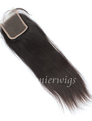 10''-18'' Jet Black / Natural Black / Dark Brown Full Lace Straight Human Hair Closure Medium Brown Swiss Lace 50g gram Average Cap Size