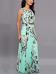 Women's Sexy Casual Party Maxi Inelastic Sleeveless Maxi Dress (Chiffon)