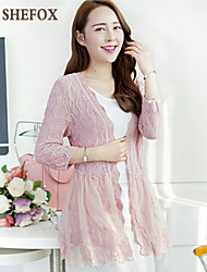 Women's Casual Micro-elastic Thin ¾ Sleeve Cardigan (Lace/Knitwear) SF7C04