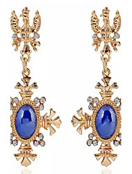 Drop Earrings Gemstone Cubic Zirconia Gold Plated Alloy Fashion Cross Screen Color Jewelry 2pcs