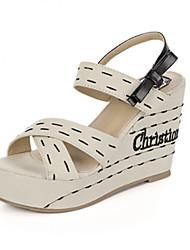 Zapatos de mujer - Tacón Cuña - Cuñas - Sandalias - Casual - Tejido - Beige