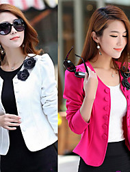 Y.F Women's Solid Color Pink / Red / White Coats & Jackets , Sexy Tailored Collar Long Sleeve