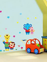 quarto casa animais desenhos animados para crianças parede coelho girafa parque do elefante adesivos
