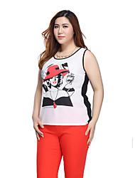 Prettyshow 2015 Autumn New Style Women Large Size XL-5XL Sleeveless Printing Sexy Springy Slimming Vest QA3BT0233