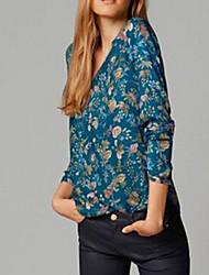 Langermet T-skjorte V-hals Blomst Bomull Kvinner