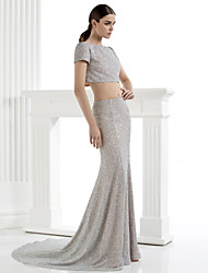 Homecoming TS Couture Formal Evening Dress - Silver Sheath/Column Scoop Court Train Sequined