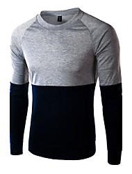 Camiseta De los hombres Casual/Formal Estampado - Algodón - Manga Larga