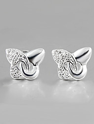 2015 Italy Style Silver Plated Buttlefly Design Stud Earrings for Lady