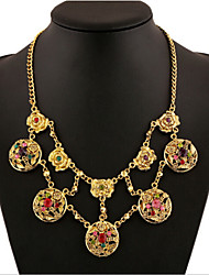 Alloy Gold Plated  With Cubic Zirconia Flower Fashion Necklaces