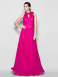 Lanting Bride® Floor-length Chiffon Bridesmaid Dress - Sheath / Column High Neck Plus Size / Petite with Bow(s)