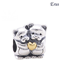 Euner® Silver and 14k Gold Bear Hug Charm Pendant 925 Solid Sterling Silver DIY Charms Loose Silver Beads