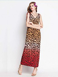 Women's Milk Fiber Leopard Print Ombre Sexy Casual Or Beach Long Maxi Dress
