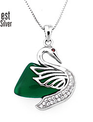 Sterling Silver Plated Platinum/Zirconium Drill Green Agate Necklace Noble Swan Pendant Jewelry F031