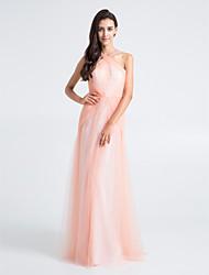 Vestido de Dama de Honor - Rosa Perla Corte Recto Tirantes - Hasta el Suelo Tul