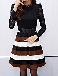 Women's Vintage Sexy Beach Casual Party Long Sleeve Lace Mini Dress