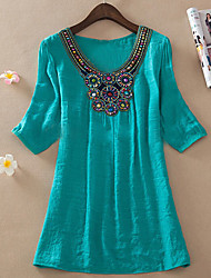 Order Bead Embroidery Bamboo Cotton Blouse