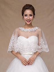 Gorgeous Women's Wedding Wraps Tartan Ponchos Sleeveless Beaded Lace Bridal Bolero Shrug