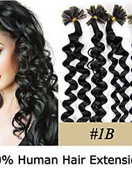 20-Zoll remy Nagelspitze Haar lockig 0,5 g / s Echthaar Haarverlängerungen 7 Farben für Frauen Schönheit