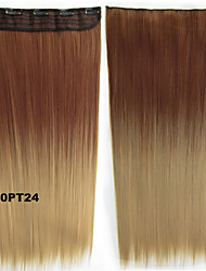 Beautiful Long Silk Straight Synthetic Dip Dye Ombre 5 Clips Hairpiece Slice Hair Extensions Clip in 60cm