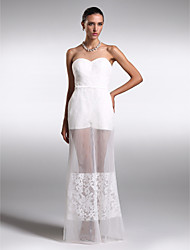 Formal Evening Dress - Ivory Sheath/Column Sweetheart Floor-length Organza