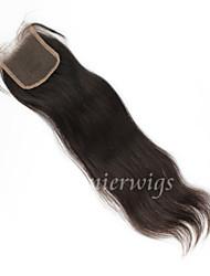 10 '' - 18 '' naturelles droites brésilienne de cheveux vierge noeuds blanchis suisses fermetures de dentelle libre / moyen / trois