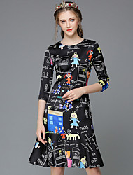 Autumn Fashion Women Clothing Large Size Vintage Print Cartoon Cute 3/4 Sleeve Falbala Dress