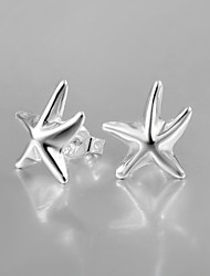 2015 Italy Style Silver Plated Starfish Design Stud Earrings for Lady