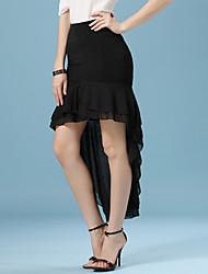 Women's Solid Black Skirts , Casual/Work Asymmetrical Ruffle