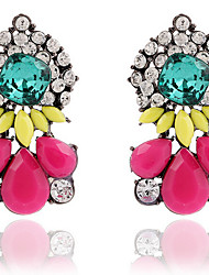 Drop Earrings Gemstone Rhinestone Alloy Statement Jewelry Fashion Drop Green Rainbow Jewelry 2pcs