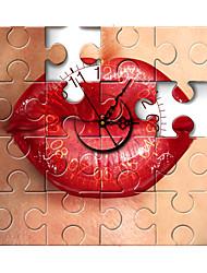pag®morden 3d effect rode lip puzzel wandklok 15,7 * 15,7 inch / 40 * 40 cm