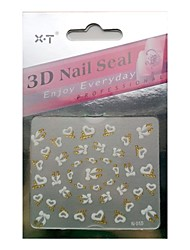 XT® Flower/Lovely/Wedding Finger 3D Nail Stickers/Nail Jewelry/Polymer Nail Art/Other Decorations Plastic 1sheet 5.5*5cm
