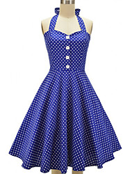 Women's Party Vintage / Cute Skater Dress,Polka Dot Halter Above Knee Sleeveless Blue / Red / Black / Green Cotton / Polyester