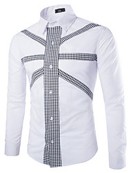 liveshow,Men's Casual Shirts , Cotton/Rayon Long Sleeve Vintage/Casual/Party/Work All Seasons liveshow