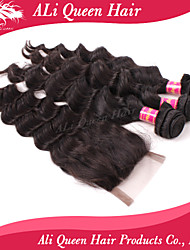 Ali Queen Hair Products 3Pcs 6A Brazilian Hair Bouncy Wave With 1Pcs 4*4 Swiss Lace Closures 100% human hair