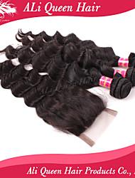 6a brésilienne de cheveux vague gonflable d'Ali produits capillaires queen avec 1pcs 4 * 4 suisses fermetures de dentelle 100% de cheveux