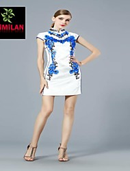 YIMILAN® Women's The New 2015 Heavy Embroidery Beaded Dress