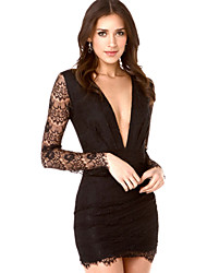 W.W.W  Women's V-Neck Dresses , Lace Casual/Party Long Sleeve