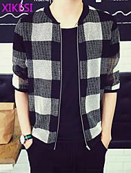 Men's Casual/Work Plaids & Checks Short Jacket (Cotton Blend/Polyester) XKS7E14