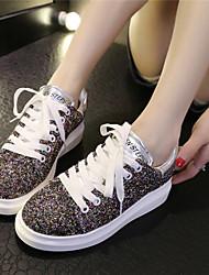 Scarpe Donna - Sneakers alla moda - Casual - Punta arrotondata - Piatto - Finta pelle - Argento / Dorato