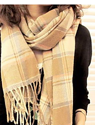 Lady  Warm Cashmere Super Long Plaid Scarves Shawls