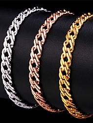 U7® Unisex Gold Venetian Chains 18K Stamp Women Men Jewelry Rose Gold/Platinum Plated Fashion Chain Bracelet